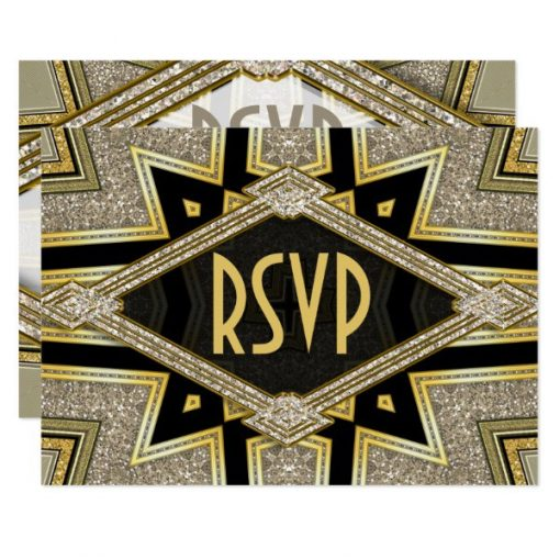 Art Deco Goldy Diamonds Wedding RSVP Cards by AlternativeWeddings