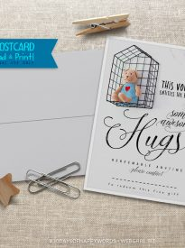 Day 7 #30DaysofHappyWords - HUGS Voucher postcard printables