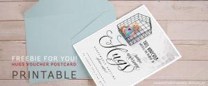 #30DaysofHappyWords - Hugs Voucher Postcard Printable Freebie by Webgrrl.biz
