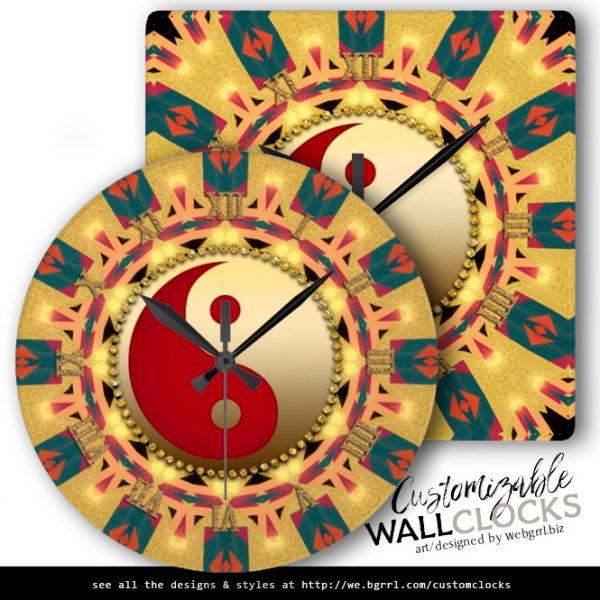 Aztec Sunshine YinYang FengShui Home Decor Clock by webgrrl