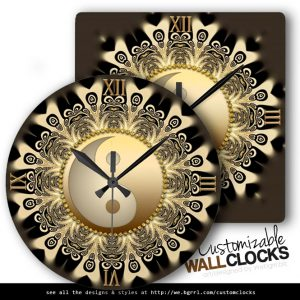 black_gold_lace_mandala_balance_yinyang_wall_clock-d1