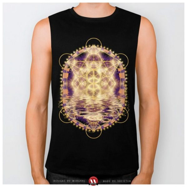 Sacred Geometry with glowing gold Peace symbol reflecting in liquid