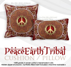 Golden Peace Earth Tribal Batik Cushion / Pillow by webgrrl