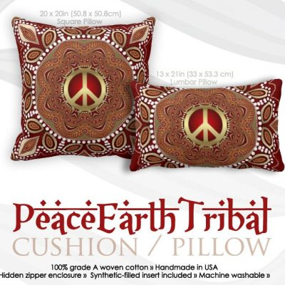 Golden Peace Earth Tribal Batik Cushion / Pillow by webgrrl
