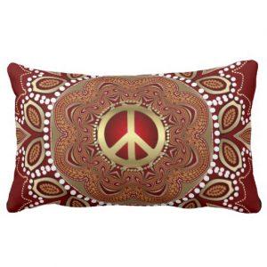 Golden Peace Earth Tribal Batik Lumbar Cushion / Pillow