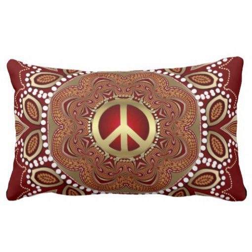 Golden Peace Earth Tribal Batik Lumbar Cushion / Pillow