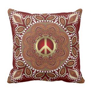 Golden Peace Earth Tribal Batik Square Cushion / Pillow
