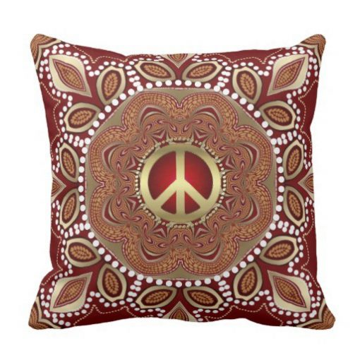 Golden Peace Earth Tribal Batik Square Cushion / Pillow