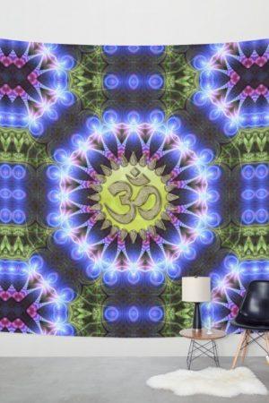 om-shanti-fractal-geometry-wall hanging / tapestry