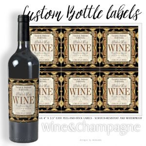Wine Labels | Stylish Earthy Gold Black Glamour by Webgrrl