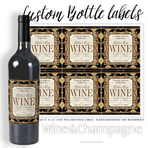 Wine Labels   Stylish Earthy Gold Black Glamour by Webgrrl