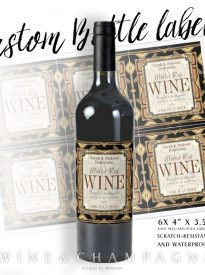Stylish Earthy Gold Black Glamour Wine Labels (X6) by Webgrrl