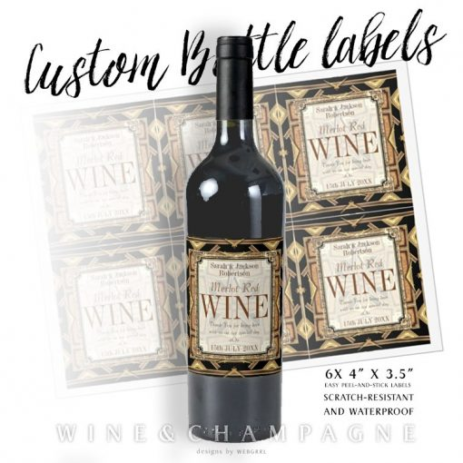 Stylish Earthy Gold Black Glamour Wine Labels (X6) by Webgrrl