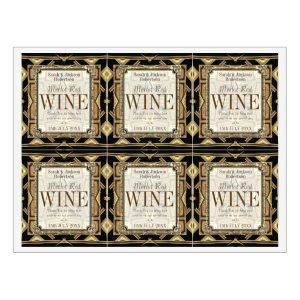 Stylish Earthy Gold Black Glamour Wine Labels | 6 per sheet