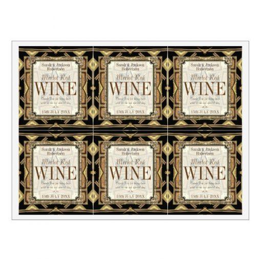 Stylish Earthy Gold Black Glamour Wine Labels   6 per sheet