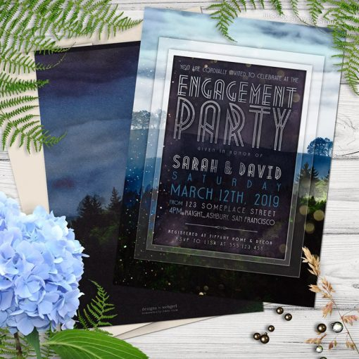 Outdoors in Nature Engagement Party Invitation
