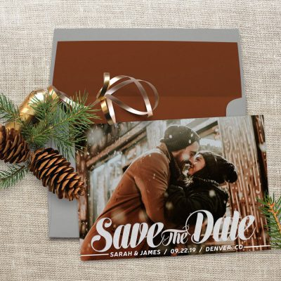 Save the Date Announcement Script Overlay Photo Card by Webgrrl