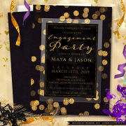 Gold Confetti Engagement Party Invitation
