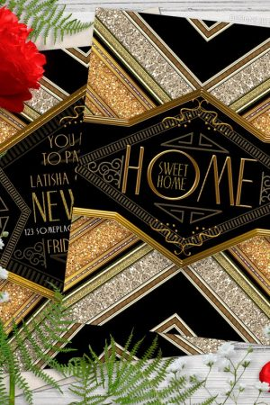 Housewarming Party Invite | Steampunk Art Deco Home Sweet Home