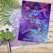 Purple pink watercolor starry astro skies bridal shower invitation cards.