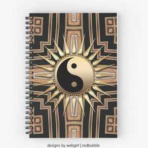 Black Gold Art Deco New Age fusion Spiral Notebooks