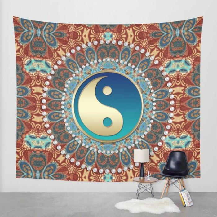 Bohemian Batik Yin Yang Wall Tapestry by Webgrrl
