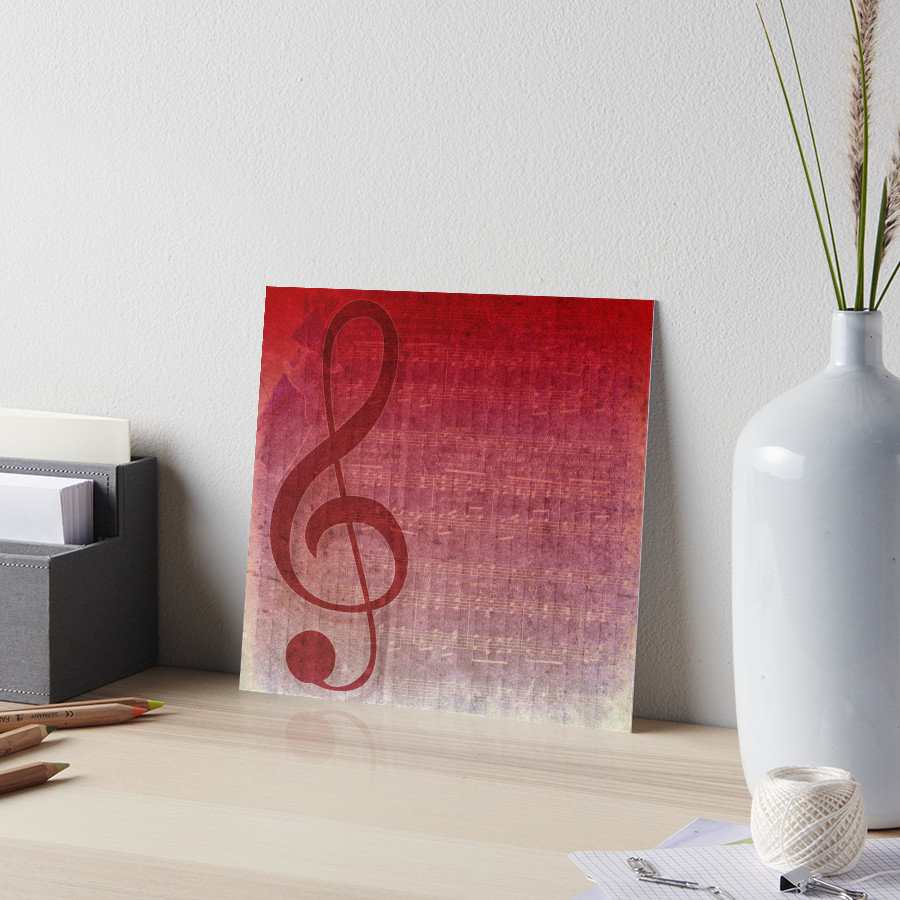Clef Music Symbol | Vintage Grunge Music Sheet 10x10in Gallery Boards