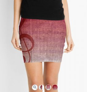 Clef Music Symbol | Vintage Grunge Music Sheet Mini Skirts