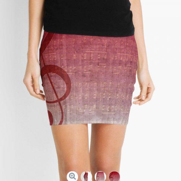 Clef Music Symbol | Vintage Grunge Music Sheet Mini Skirts