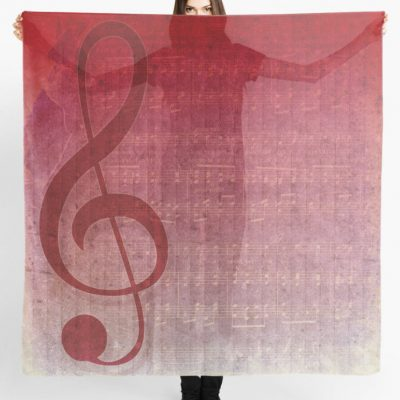Universal music, clef symbol, digital art mix with vintage grunge music sheet