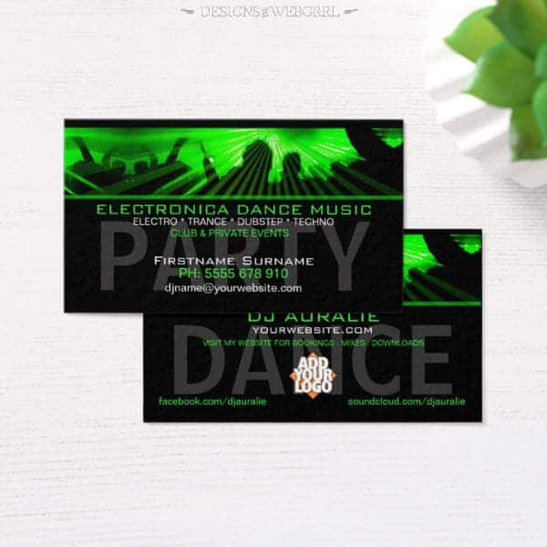 Dj business cards rave lasers dance club zazzle dj reheart Image collections