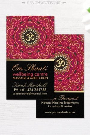 Healing Om Shanti Red White Mandala Business Card Zazzle
