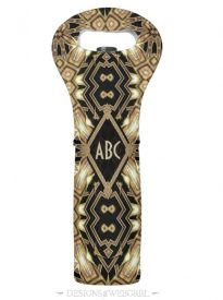 Wedding Black Gold ArtDeco Monogram Wine Cooler Wine Bag