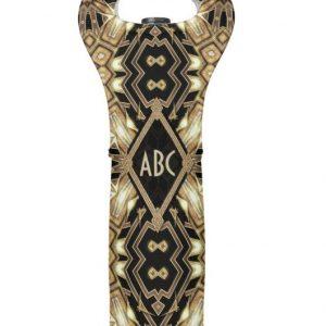 Wedding Black Gold ArtDeco Monogram Wine Cooler Wine Bag