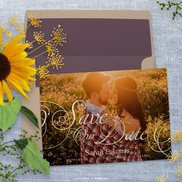 Save the Date Photo Card | Gold Elegance Script