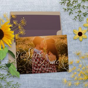 Save the Date Photo Card | Gold Elegance Script by Webgrrl