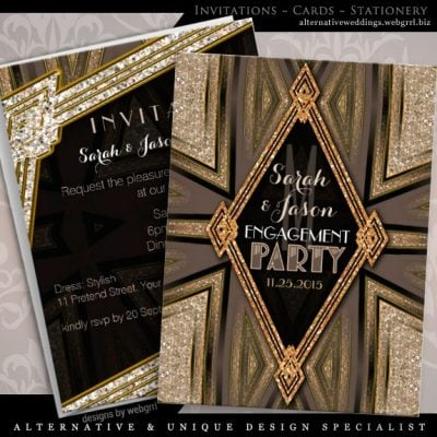 ArtDeco Rustic Gold Romance Engagement Party Card