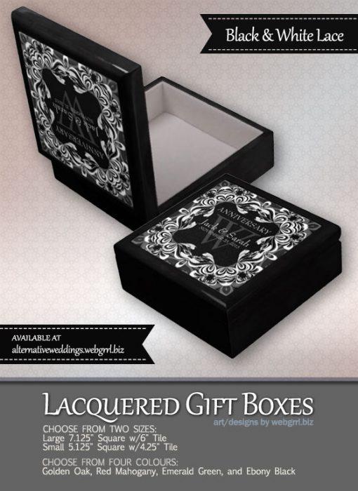 Black+White Lace Wedding Anniversary Gift Box