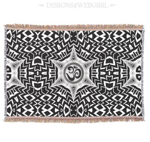Black+White Om Star Trip Mandala design - Home Decor