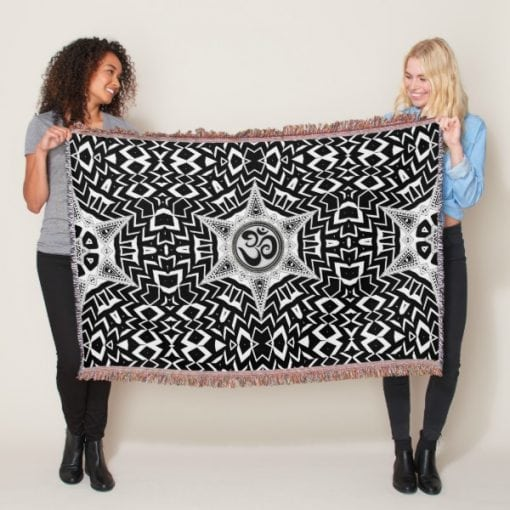 Black+White Om Star Trip Mandala Throw Blanket by webgrrl
