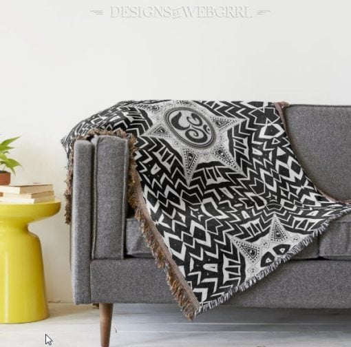 Black and White Aum symbol modern tribal throw blanket
