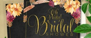 Bohemian Chalkboard Gold Bridal Shower | Feathers + Flowers Flat Card, Invitation