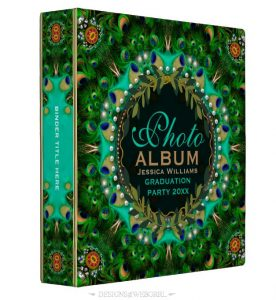 Boho-Chic Peacock Feathers Lace Photo Album 3 Ring Binder