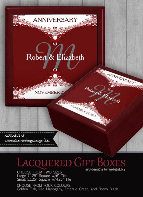 Red+White Fractal Lace Custom Gift Box | Zazzle