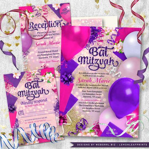 Party Balloons Pink Purple Bat Mitzvah Suite