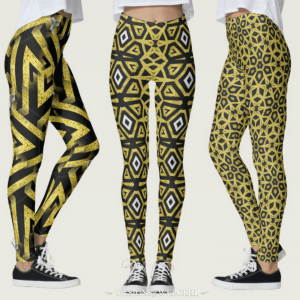 Black and Gold Geometric Pattern Leggings by Webgrrl