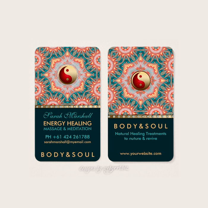 Teal Gold Energy Holistic Yin Yang Business Card |