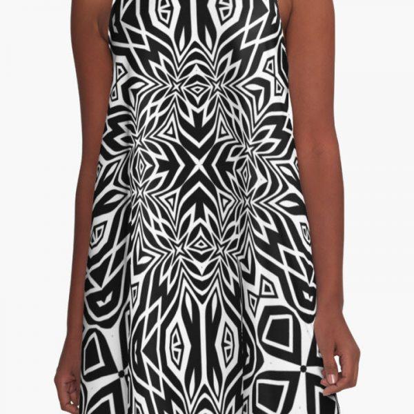 Black & White Tribal | Leyana S4 A-Line Dresses