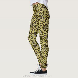 Black and Gold Geometric Leopard Leggings by webgrrl