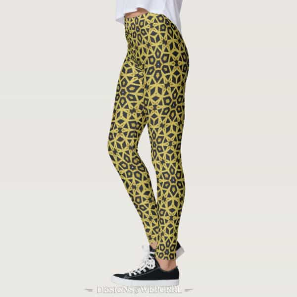 Black and Gold Geometric Leopard Leggings by webgrrl